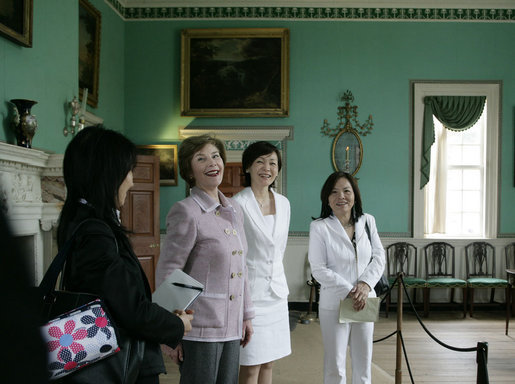 Mrs. Laura Bush and Mrs. Akie Abe, wife of Japanese Prime Minister Shinzo Abe, react to a humorous comment on their tour of the Mount Vernon Estate of George Washington Thursday, April 26, 2007, in Mount Vernon, Va. White House photo by Shealah Craighead