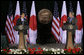 President George W. Bush and Japan's Prime Minister Shinzo Abe hold a joint press availability Friday, April 27, 2007, at Camp David. White House photo by Joyce Boghosian