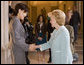 Mrs. Lynne Cheney greets Mrs. Akie Abe, the wife of Prime Minister Shinzo Abe of Japan, at the Freer Gallery of Art Friday, April 27, 2007, in Washington, D.C. Mrs. Cheney and Mrs. Abe toured the museum of Asian art with Dr. James Ulak, curator of Japanese art. White House photo by Lynden Steele