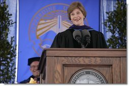 "Mrs. Laura Bush addresses the University of Pepperdine's Seaver College Class of 2007 during commencement ceremonies Saturday, April 28, 2007, in Malibu, Calif. Mrs. Bush, who received an honorary Doctor of Laws degree during the event, told the graduates, ""The Pepperdine Class of 2007 -- and all of us in the United States -- have freely received the blessings of our nation: good health and prosperity; opportunity and freedom. Our country is also blessed with compassionate citizens who freely give to other nations in need. Many of these compassionate citizens are right here at Pepperdine."" White House photo by Shealah Craighead"