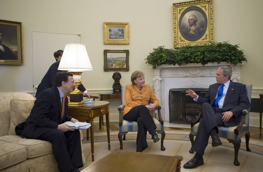 President George W. Bush is joined by Jose Manuel Barroso, President of the European Commission, and Chancellor Angela Merkel of the Federal Republic of Germany, President of the European Council, during meetings Monday, April 30, 2007, at the White House. White House photo by Eric Draper