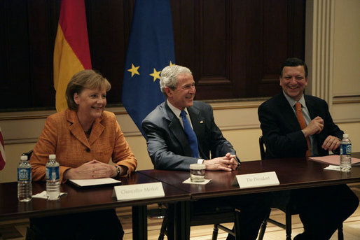 President George W. Bush, center, European Commission President Jose Manuel Barroso, right, and Chancellor Angela Merkel of the Federal Republic of Germany, left, meet with members of the TransAtlantic Business Dialogue during an April 30, 2007 meeting in the Dwight D. Eisenhower Executive Office Building in Washington, D.C. White House photo by Eric Draper