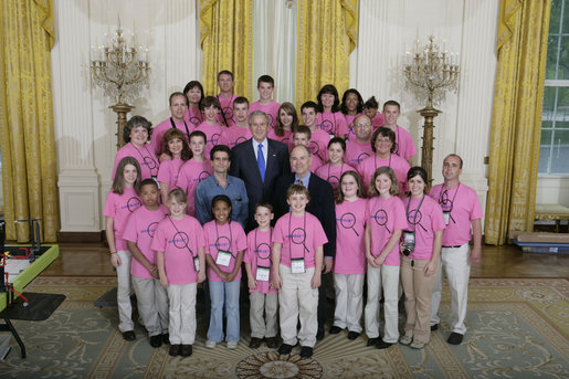 President George W. Bush talks with some of the winners in the FIRST Competition (For Inspiration and Recognition of Science and Technology) Monday, April 30, 2007, at the White House. Founded in 1989, the program encourages young students to pursue education and career opportunities in science, technology, engineering, and math, while building self-confidence, knowledge, and life skills. White House photo by Joyce Boghosian
