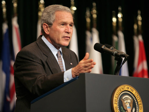 "President George W. Bush delivers remarks Tuesday, May 1, 2007, to the CENTCOM Coalition Conference at MacDill Air Force Base in Tampa. Said the President, ""These are difficult times. These are tough times. These are times that require hard work and courage and faith in the ability of liberty to yield the pace we want."" White House photo by Eric Draper"