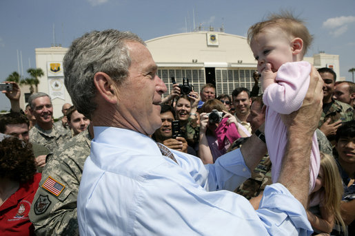 President George W. Bush greets the crowd on hand at MacDill Air Force Base in Tampa Tuesday, May 1, 2007. The President was on hand for a briefing at CENTCOM, and to deliver remarks to the CENTCOM Coalition Conference. White House photo by Eric Draper