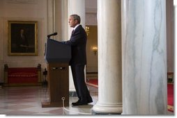 "President George W. Bush issues a statement Tuesday, May 1, 2007, regarding his veto of the Iraq War Supplemental. Speaking from Cross Hall in the White House, the President said, ""We need to give our troops all the equipment and the training and protection they need to prevail. The need to act is urgent.""  White House photo by David Bohrer"