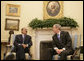 "President George W. Bush meets with President Ali Abdullah Saleh of Yemen in the Oval Office Wednesday, May 2, 2007. Said the President, ""We had a very good discussion about the neighborhood in which the President lives. And I thanked the President for his strong support in this war against extremists and terrorists."" White House photo by Joyce Boghosian"