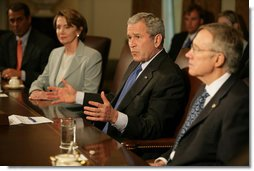 "President George W. Bush speaks during a meeting with the bicameral, bipartisan Congressional leadership Wednesday, May 2, 2007, in the Cabinet Room of the White House. Said the President before the meeting, "" I thank the leaders from Congress for coming down to discuss the Iraq funding issue. Yesterday was a day that highlighted differences. Today is a day where we can work together to find common ground.""  White House photo by Eric Draper"