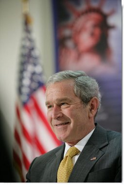 "President George W. Bush addresses a meeting Thursday, May 3, 2007 on immigration and assimilation at the Asamblea de Iglesias Cristianas, Centro Evangelistico in Washington, D.C. President Bush said ""One aspect of comprehensive immigration reform is to help people assimilate into America. Part of that is to have a comprehensive strategy to help people learn the English language and to learn the history and traditions of the United States.""  White House photo by Eric Draper"