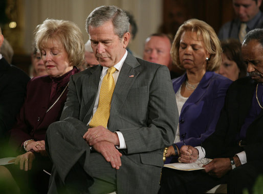 President George W. Bush sits next to Shirley Dobson, Chair of the National Day of Prayer, during an observance of the day Thursday, May 3, 2007, in the East Room of the White House. White House photo by Eric Draper
