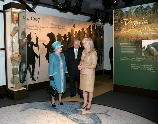 Vice President Dick Cheney and Her Majesty Queen Elizabeth II of England speak with Ms. Bly Straube, Senior Curator, Association for the Preservation of Virginia Antiquities, during a tour Friday, May 4, 2007 of the Historic Jamestowne Archaearium in Jamestown, Virginia. The Historic Jamestowne Archaearium houses 17th century objects excavated from the James Fort site. White House photo by David Bohrer