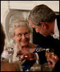 President George W. Bush toasts Her Majesty Queen Elizabeth II of Great Britain following welcoming remarks Monday, May 7, 2007, during the State Dinner in her honor at the White House. White House photo by Eric Draper