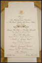 A menu is seen atop a table setting arrangement for the State Dinner at the White House Monday, May 7, 2007, hosted by President George W. Bush and Mrs. Laura Bush in honor of Her Majesty Queen Elizabeth II and His Royal Highness The Prince Philip, Duke of Edinburgh, in the State Dining Room. White House photo by Shealah Craighead