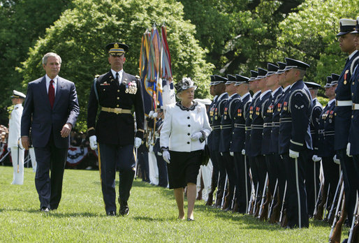 President George W. Bush and Her Majesty Queen Elizabeth II of Great Britain review the troops during a state arrival ceremony Monday, May 7, 2007. White House photo by Joyce Boghosian