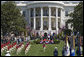 The U.S. Army Old Guard Fife and Drum Corps marches across the South Lawn during the Arrival Ceremony for Her Majesty Queen Elizabeth II and His Royal Highness The Prince Philip Duke of Edinburgh Monday, May 7, 2007, on the South Lawn. White House photo by Lynden Steele
