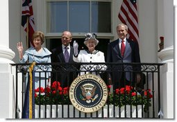 President George W. Bush and Mrs. Laura Bush wave to an audience of 7,000 guests during the Arrival Ceremony for Her Majesty Queen Elizabeth II and His Royal Highness The Prince Philip Duke of Edinburgh Monday, May 7, 2007, on the South Lawn.  White House photo by David Bohrer
