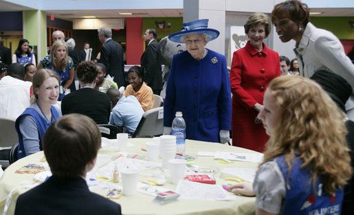 Mrs. Laura Bush and Her Majesty Queen Elizabeth II of Great Britain meet with patients, staff and family members Tuesday, May 8, 2007, during a visit to the Children's National Medical Center in Washington, D.C. White House photo by Shealah Craighead