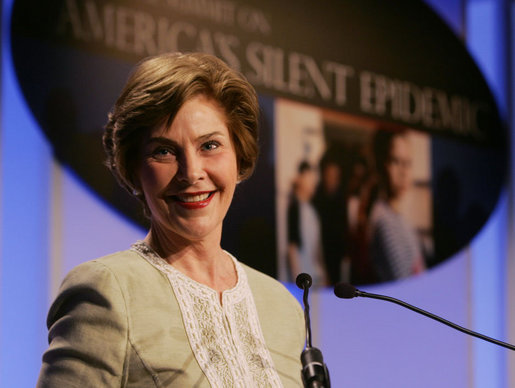 Mrs. Laura Bush addresses her remarks Wednesday, May 9, 2007 in Washington, D.C., at the National Summit on America's Silent Epidemic highlighting America's high school dropout crisis. Mrs. Bush encouraged communities across the nation to come together and take action to reduce the high school dropout rate. White House photo by Joyce Boghosian