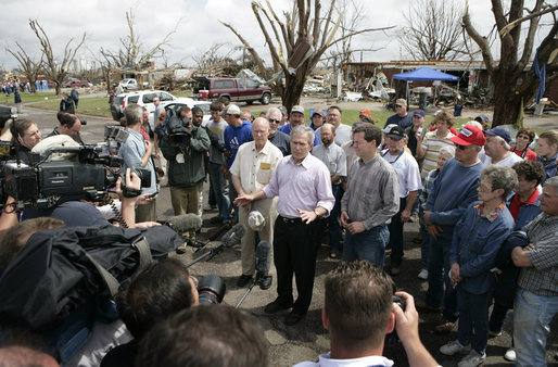 "President George W. Bush makes a statement Wednesday, May 9, 2007, during his tour of Greensburg, Kansas, left devastated by a tornado last week. Said the President, ""I am struck by the strength of the character of the people who live here in the Plains -- people who refuse to be -- who refuse to have their spirit affect by this storm; as a matter of fact, who are willing to do what it takes to rebuild in a better way."" White House photo by Eric Draper"