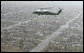 Marine One, carrying President George W. Bush, flies over the devastated community of Greensburg, Kansas Wednesday, May 9, 2007. At least 11 people died and more than 90 percent of the homes were destroyed by a tornado that struck the area Friday night. White House photo by Eric Draper