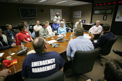 President George W. Bush participates in a briefing Wednesday, May 9, 2007, at the Emergency Operations Center in Greensburg, Kansas, during his visit to the tornado-ravaged area. White House photo by Eric Draper