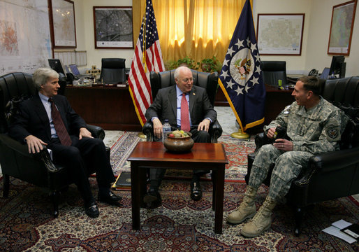 Vice President Dick Cheney participates in a classified briefing Wednesday, May 9, 2007, inside the Green Zone in Baghdad with U.S. Ambassador to Iraq Ryan Crocker and General David Petraeus, Commander of U.S. forces in Iraq. White House photo by David Bohrer