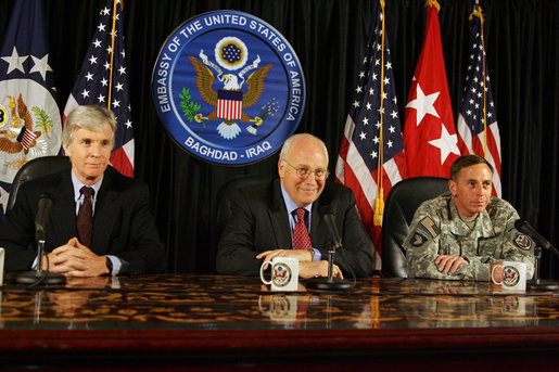 "Vice President Dick Cheney is joined by U.S. Ambassador to Iraq Ryan Crocker, left, and General David Petraeus, Commander of U.S. forces in Iraq, right, for a press conference Wednesday, May 9, 2007, at the U.S. Embassy in Baghdad. In speaking about the day's meetings with Iraqi officials, the Vice President said, ""I emphasized the importance of making progress on the issues before us, not only on the security issues but also on the political issues that are pending before the Iraqi government. I was impressed with the commitment on the part of the Iraqis to succeed on these tasks, to work together to solve these issues."" White House photo by David Bohrer"