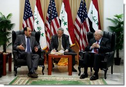 "Vice President Dick Cheney meets with Prime Minister Nouri al-Maliki of Iraq Wednesday, May 9, 2007, during his visit to Baghdad. According to the Vice President, the two men discussed a wide range of issues, focusing ""On things like the Baghdad security plan, ongoing operations against terrorists, as well as the political and economic issues that are before the Iraqi government.""  White House photo by David Bohrer"