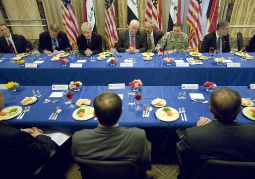 Vice President Dick Cheney is joined by U.S. officials during a lunch with Prime Minister Nouri al-Maliki of Iraq, and Iraqi Cabinet members Wednesday, May 9, 2007 at the U.S. Embassy in Baghdad. White House photo by David Bohrer