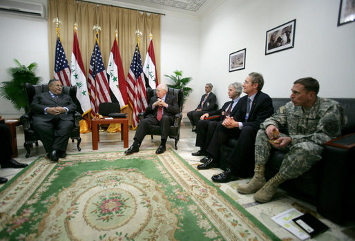 Vice President Dick Cheney and U.S. officials meet with Iraqi President Jalal Talabani Wednesday, May 9, 2007, at the U.S. Embassy in Baghdad. White House photo by David Bohrer