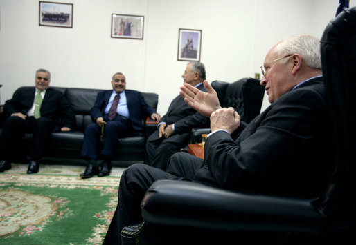 Vice President Dick Cheney addresses the media during a meeting with the Iraqi Presidency Council Wednesday, May 9, 2007, in Baghdad. Seated from left are Iraqi Vice Presidents Tariq al-Hashemi and Adel Abd al-Mehdi and Iraqi President Jalal Talabani. White House photo by David Bohrer