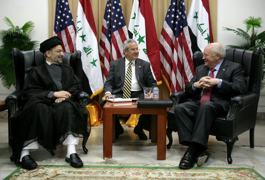 Vice President Dick Cheney meets with the Abdul Aziz al-Hakim, Chairman of the Supreme Council for the Islamic Revolution in Iraq, Wednesday, May 9, 2007, in Baghdad. White House photo by David Bohrer