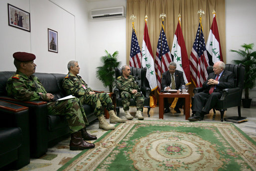 Vice President Dick Cheney meets with Iraqi Lieutenant General Abboud, commanding general for the Baghdad security plan, and Iraqi military officers Wednesday, May 9, 2007, in Baghdad. White House photo by David Bohrer