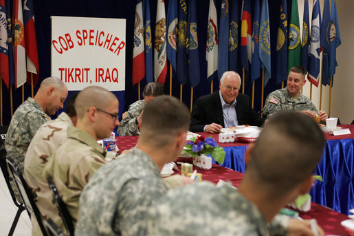 Vice President Dick Cheney has breakfast with U.S. troops Thursday, May 10, 2007, at Contingency Operating Base Speicher near Tikrit, Iraq. Following his overnight stay, the Vice President became the highest ranking administration official to spend the night in Iraq. White House photo by David Bohrer