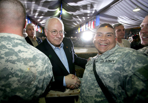 Vice President Dick Cheney greets troops of the 25th Infantry Division and Task Force Lightning Thursday, May 10, 2007 during a rally at Contingency Operating Base Speicher, Iraq. White House photo by David Bohrer