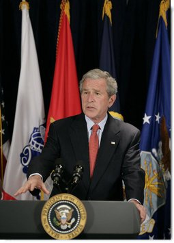 President George W. Bush addresses reporters following his meeting with Secretary of Defense Robert Gates and members of the Joint Chiefs of Staff Thursday, May 10, 2007, at the Pentagon in Arlington,Va., discussing the needs of our military in Iraq and Afghanistan and the latest developments in implementing the new Baghdad security plan.  White House photo by Eric Draper