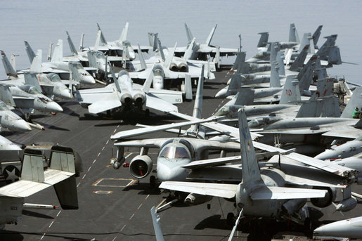 U.S. Naval aircraft are seen parked on the flight deck of the the Nimitz-class nuclear-powered supercarrier USS John C. Stennis, Friday, May 11, 2007, during a visit by Vice President Dick Cheney. White House photo by David Bohrer