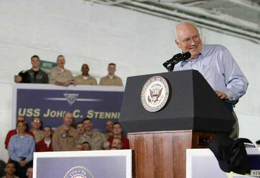 Vice President Dick Cheney delivers remarks, Friday, May 11, 2007, to U.S. troops aboard the aircraft carrier USS John C. Stennis in the Persian Gulf. White House photo by David Bohrer