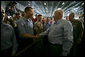 Vice President Dick Cheney greets sailors and marines, Friday, May 11, 2007, during a rally aboard the aircraft carrier USS John C. Stennis in the Persian Gulf. White House photo by David Bohrer