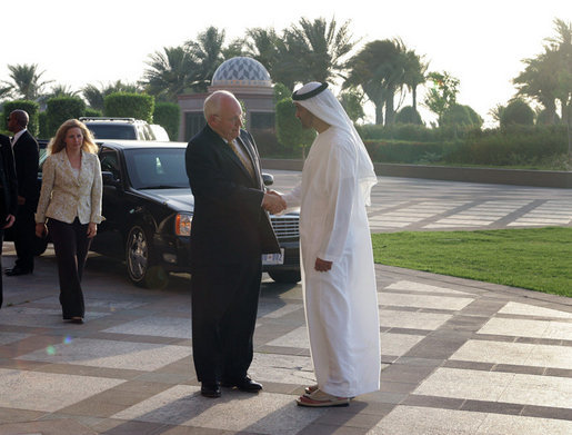 Vice President Dick Cheney is greeted by Crown Prince Sheikh Mohammad bin Zayed of Abu Dhabi Friday, May 11, 2007, prior to their meeting at the Emirates Palace Hotel in Abu Dhabi, United Arab Emirates. White House photo by David Bohrer