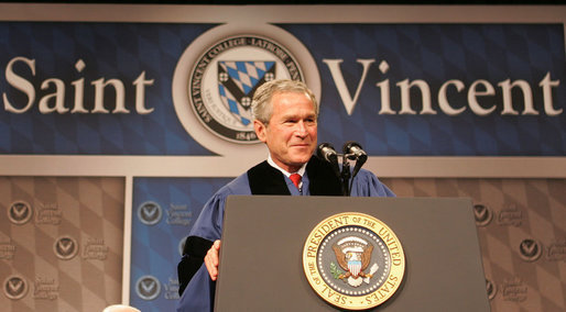 "President George W. Bush delivers the commencement address Friday, May 11, 2007, at Saint Vincent College in Latrobe, Pa., urging graduates to ""step forward and serve a cause larger than yourselves."" White House photo by Joyce Boghosian"