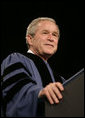 "President George W. Bush delivers the commencement address Friday, May 11, 2007, at Saint Vincent College in Latrobe, Pa., where President Bush encouraged graduates to ""step forward and serve a cause larger than yourselves."" White House photo by Joyce Boghosian"
