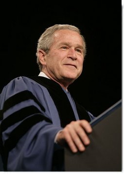 "President George W. Bush delivers the commencement address Friday, May 11, 2007, at Saint Vincent College in Latrobe, Pa., where President Bush encouraged graduates to ""step forward and serve a cause larger than yourselves."" White House photo by Joyce N. Boghosian"