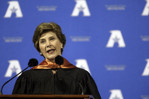 "Mrs. Bush delivers remarks to the 2007 graduating class from The University of Texas at Arlington on Friday, May 11, 2007, during their Graduation Celebration event in Arlington, Texas. ""Tonight, we honor 2,700 students from nine schools and 79 countries."" Mrs. Bush said during her speech. ""And now you're united by one distinction: You're UTA graduates."" White House photo by Shealah Craighead"