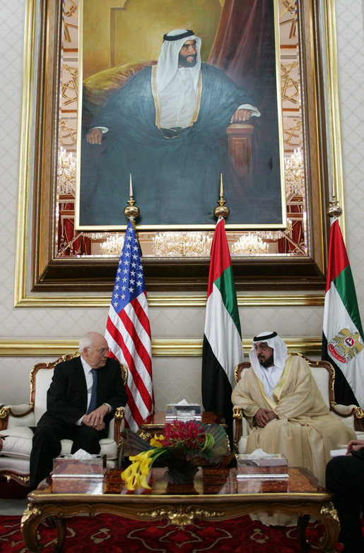 Vice President Dick Cheney meets with President Khalifa bin Zayid al-Nuhayyan of the United Arab Emirates, Saturday, May 12, 2007, at Al-Bateen Palace in Abu Dhabi, United Arab Emirates. Behind them is a portrait of the President's late father, Sheikh Zayed bin Sultan Al Nahyan. White House photo by David Bohrer