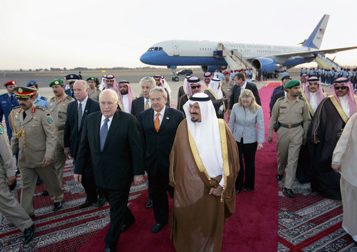 Upon arrival Saturday, May 12, 2007, to King Faisal Air Base in Saudi Arabia Vice President Dick Cheney walks with Saudi Crown Prince Sultan bin Abdulaziz, right, and an interpreter. The visit to Saudi Arabia is the third stop on a five-country trip to the Middle East. White House photo by David Bohrer
