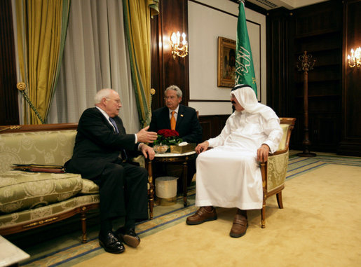 Vice President Dick Cheney meets one-on-one with King Abdullah of Saudi Arabia, Saturday, May 12, 2007 at Fahd ibn Sultan Palace in Tabuk, Saudi Arabia. White House photo by David Bohrer