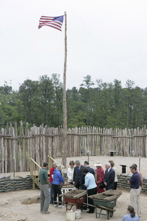 President George W. Bush and Mrs. Laura Bush get a first-hand look as archaeologists work at the historic Jamestowne site Sunday, May 13, 2007, in Jamestown, Va. White House photo by Shealah Craighead