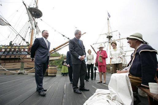 President George W. Bush and Mrs. Laura Bush are joined by Virginia Gov. Tim Kaine and his wife, Anne Holton, and former Supreme Court Justice Sandra Day O'Connor as they talk with Josiah Freitus, a sail maker, during a visit to Jamestown Settlement Sunday, May 13, 2007, in Jamestown, Va. White House photo by Shealah Craighead