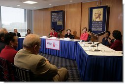 Mrs. Laura Bush talks about heart health issues for women Monday, May 14, 2007, during a roundtable discussion for The Heart Truth campaign at The George Washington University Hospital in Washington, D.C. The Heart Truth is a national awareness campaign for women about heart disease that is sponsored by the National Heart, Lung, and Blood Institute, part of the National Institutes of Health, U.S. Department of Health and Human Services.  White House photo by Shealah Craighead
